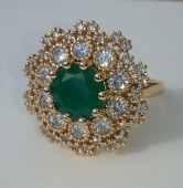 Inel Luxury Cocktail Green Emerald,marimi 6,7US